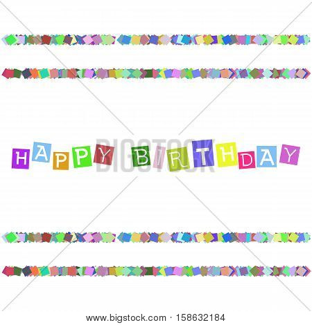 Happy Birthday, party invitation, banner. Happy Birthday card. Greeting card for birthday with colorful pattern on background. Vector illustration