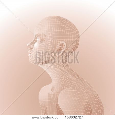Vector human face drawn in body colors patterned with mesh. Side view. Bioengineering concept. Modern bio technologies