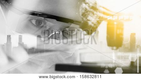 Double Exposure Of Scientist With Equipment And Science Experiments ,laboratory Glassware Containing
