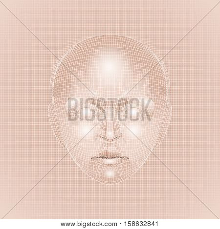 Vector human face drawn in body colors patterned with mesh. Front view. Bioengineering concept. Modern bio technologies
