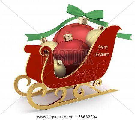 Sleigh with Christmas balls on white background - greeting card
