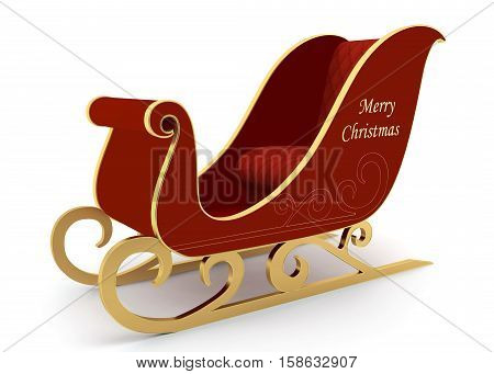 Empty Christmas Santa's sleigh on a white background