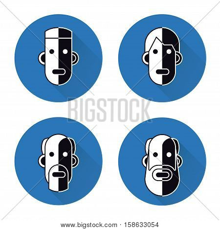 Icons Of Heads Of Men