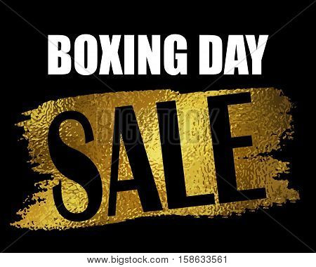 Boxing day sale banner with on black with foil