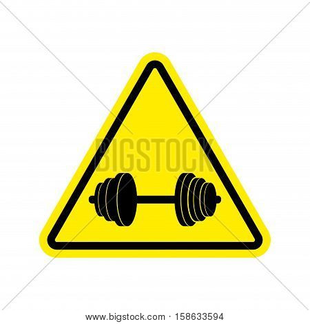 Attention Sport. Sign Warning Of Danger Dumbbell. Danger Road Sign Yellow Triangle. Fitness On Way
