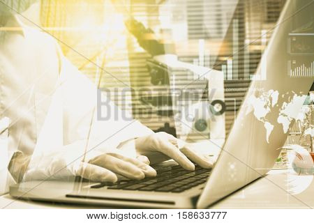 Double Exposure Of Female Medical Or Scientific Researcher Or Scientist Using A Computer In A Labora