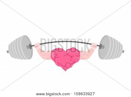 Strong Heart And Barbell. Fitness Love Isolated