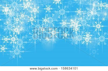 Abstract Christmas blue background greeting with snowflakes