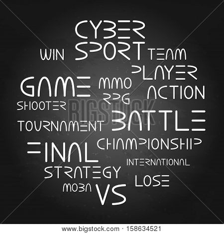 Cyber sport. Vector words and phrases related to computer games tournaments placed in circle shape.