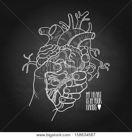 Graphic hand grasping human heart. Vector card isolated on chalkboard