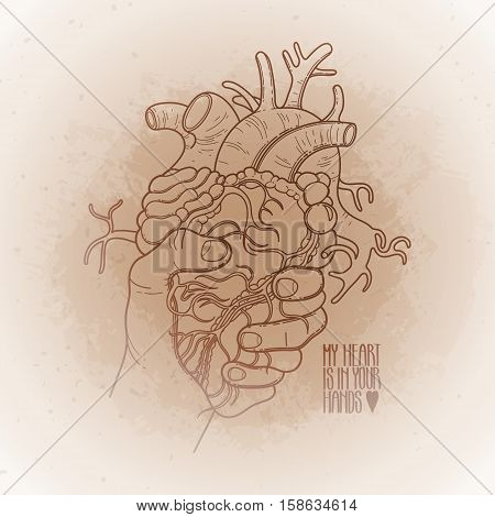 Graphic hand grasping human heart. Vector card isolated on vintage background poster