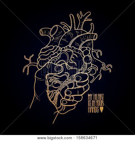 Graphic hand grasping human heart. Vector card isolated on black background in golden color