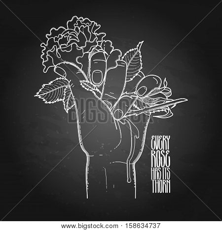 Graphic bleeding hand grasping wild rose. Vector card isolated on the chalkboard.