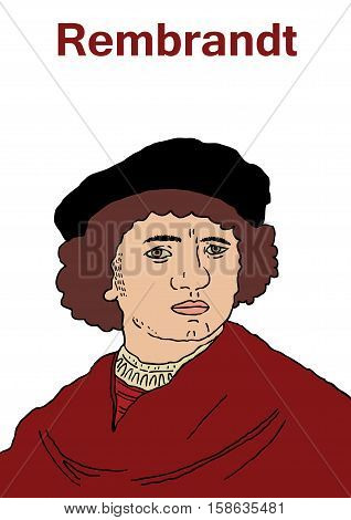 A vector illustration of the famous 17th centuary Dutch artist Rembrandt Van Rijn.