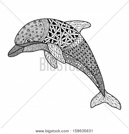 beautiful monochrome black and white dolphin with decorative flourish elements on white background. Hand Drawn vector illustration isolated on white background. Vintage sketch for tattoo design or mehandi.