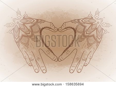 Graphic hands folded in the shape of heart. Mehndi isolated on vintage background