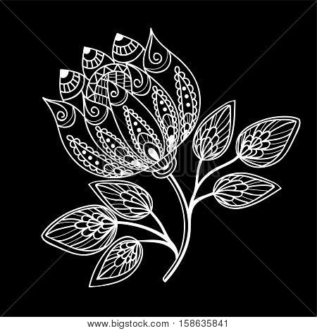 beautiful monochrome black and white flowers and leaves isolated. Floral design for greeting card and invitation of wedding birthday Valentine's Day mother's day and seasonal holiday