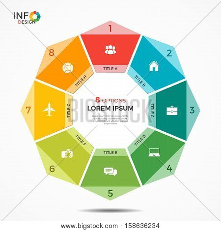 Colorful Infographic Template With 8 Options Circle Chart