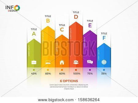 Column Chart Infographic Template With 6 Options.