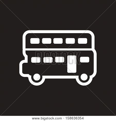 stylish black and white icon London double-decker bus