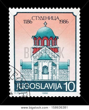 YUGOSLAVIA - CIRCA 1986 : Cancelled postage stamp printed by Yugoslavia, that shows Monastery Studenica.