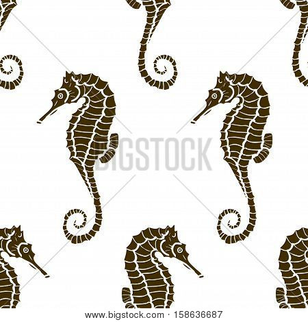 seamless pattern from seahorse silhouette. Vector hippocampus