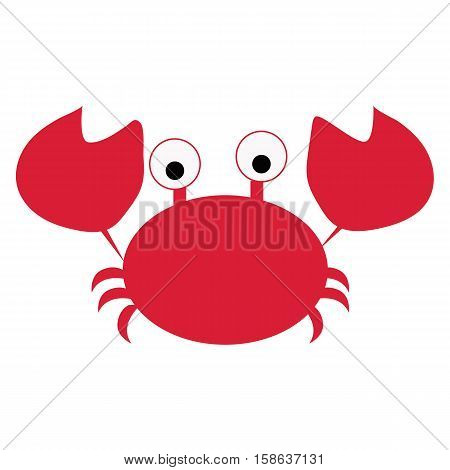 colored icon cute baby red cancer crab in cartoon style on white background. Website template or decal patch label for clothing. Vector illustration