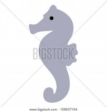 colored icon cute baby seahorse in cartoon style on white background. Website template or decal patch label for clothing. Vector illustration