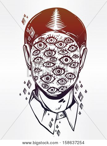 Hand drawn portrait of a weird man with suureal face. Graphic drawing in Noir retro style with many eyes head. Character design, surrealism, tattoo art. Isolated vector illustration.