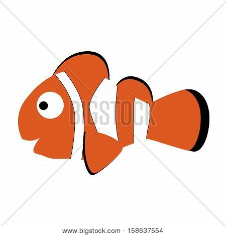 colored icon cute baby clown fish in cartoon style on white background. Website template or decal patch label for clothing. Vector illustration