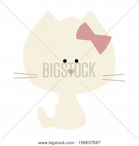 colored icon cute baby kitten girl in cartoon style on white background. Website template or decal patch label for clothing. Vector illustration