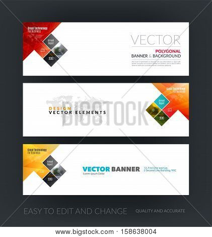 Vector set of modern horizontal website banners with arrow, rectangles, squares, diagonal house window for real estate, business, building, network, communication.  Clean web headers design.