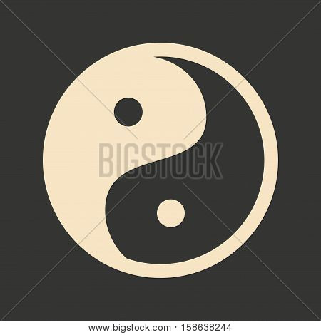 Flat in black and white mobile application yin Yang