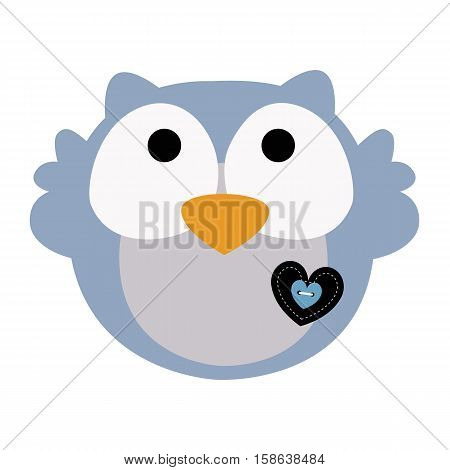colored icon cute baby owl in cartoon style on white background. Website template or decal patch label for clothing. Vector illustration