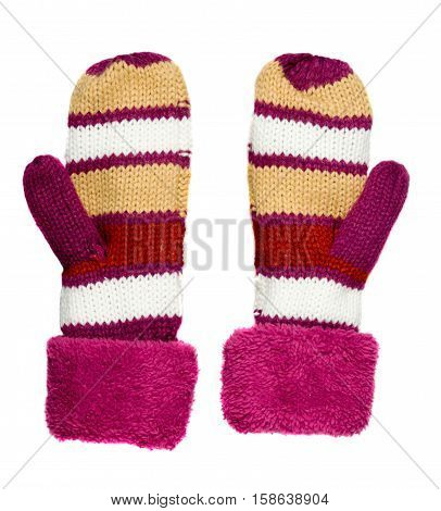 Mitten Isolated On White Background. Knitted Mittens. Mittens Top View.red Mittens With Stripes