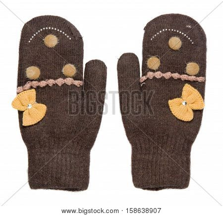 Mittens Isolated On White Background. Knitted Mittens. Mittens Top View.brown Mittens