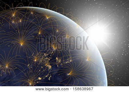 Sunrise with earth ay night with luminous rays symbolizing network communication or connections over a starry black space Elements of this image (earth photograph) furnished by NASA