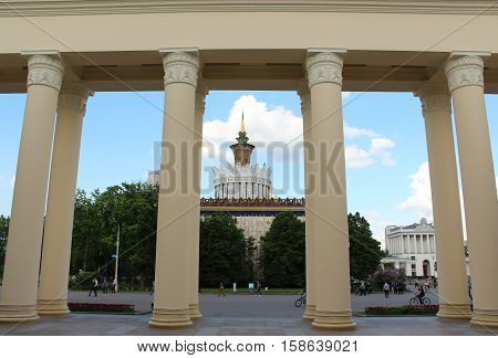 Russia, Moscow 25 May 2016, Columns of pavilion