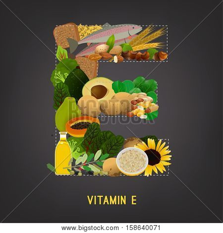 Vitamin E vector illustration. Foods containing vitamin E in a shape of letter E. Source of vitamin E nuts, corn, vegetables, fish, oils isolated on dark grey background