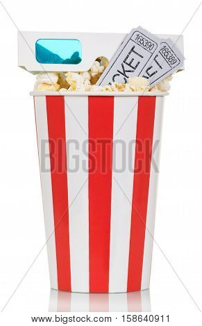 Striped box of popcorn with movie tickets and glasses isolated on white background