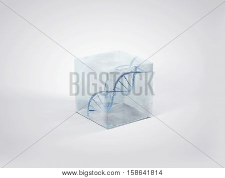 DNA double helix in ice cube. Frozen DNA 3D illustration