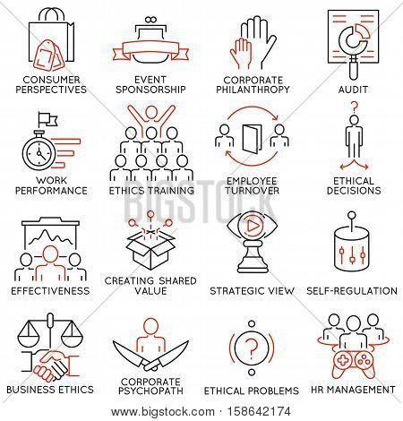 Vector set of 16 icons related to business ethics management strategy and development. Mono line pictograms and infographics design elements - part 2