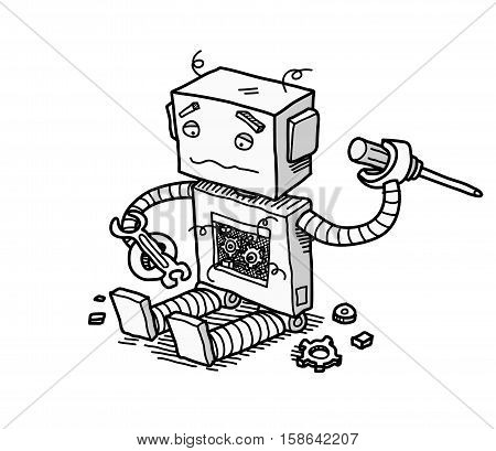 Broken Robot Fix. A hand drawn vector cartoon illustration of a broken robot trying to fix itself.