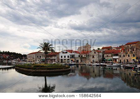 Town Vrboska on island Hvar in Dalmatia Croatia
