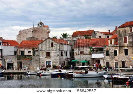 Vrboska Croatia - July 25 2015: Vrboska town houses and boats in Croatia