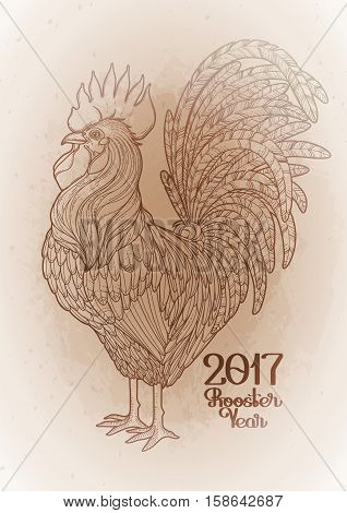 Graphic rooster drawn in line art style. Symbol of 2017 year isolated on the vintage background in ocher colors.