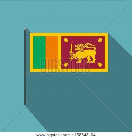 Sri Lanka flag icon. Flat illustration of Sri Lanka flag vector icon for web isolated on baby blue background