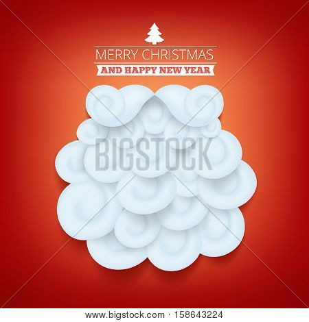 Invitation christmas card temlate with santa claus beard. Vector illustration