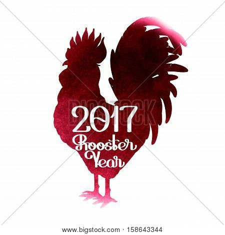 Graphic rooster silhouette with inscription. Symbol of 2017 year isolated on white backhround with vinous watercolor texture.