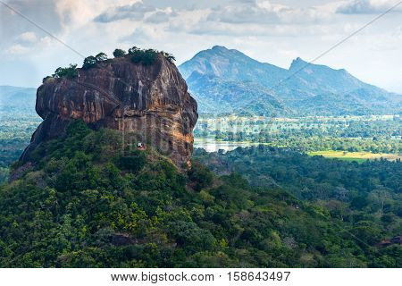 Sigiriya Lion Rock fortress and landscape in Sri Lanka.